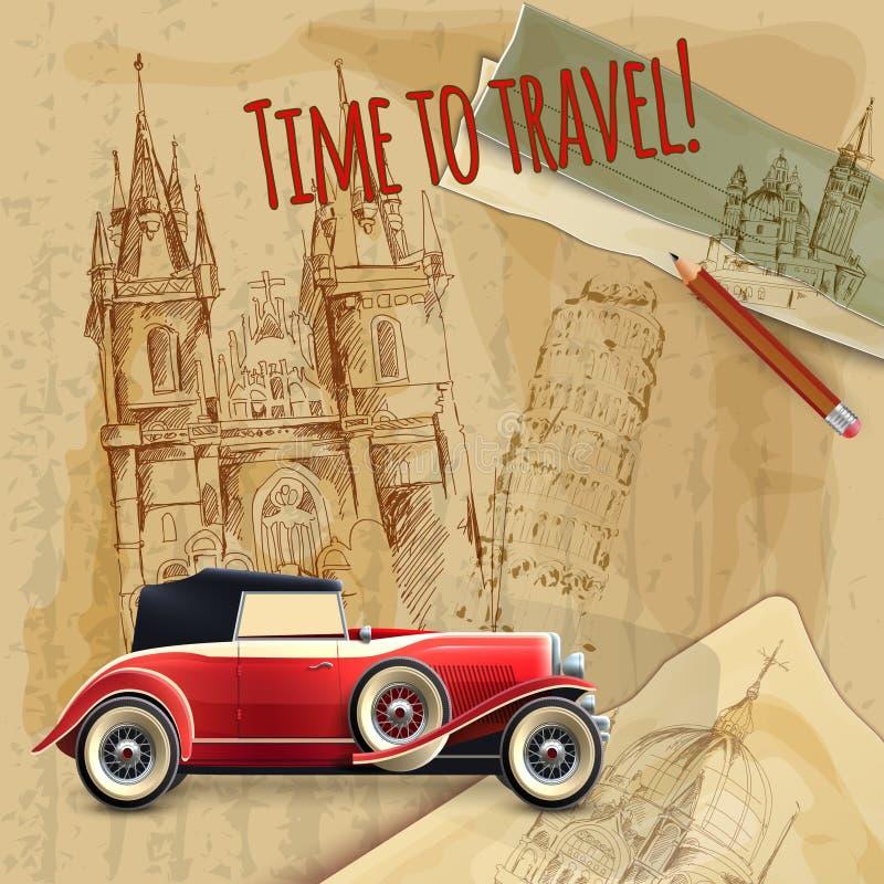 Affiche de vintage de voiture de voyage de l'Europe illustration de vecteur