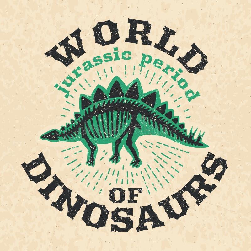 Affiche de vintage des os fossiles du dinosaure Grand squelette illustration de vecteur