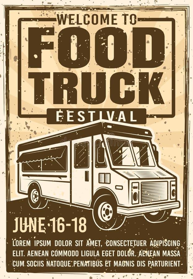 Affiche de vintage de la publicité de festival de camion de nourriture illustration stock