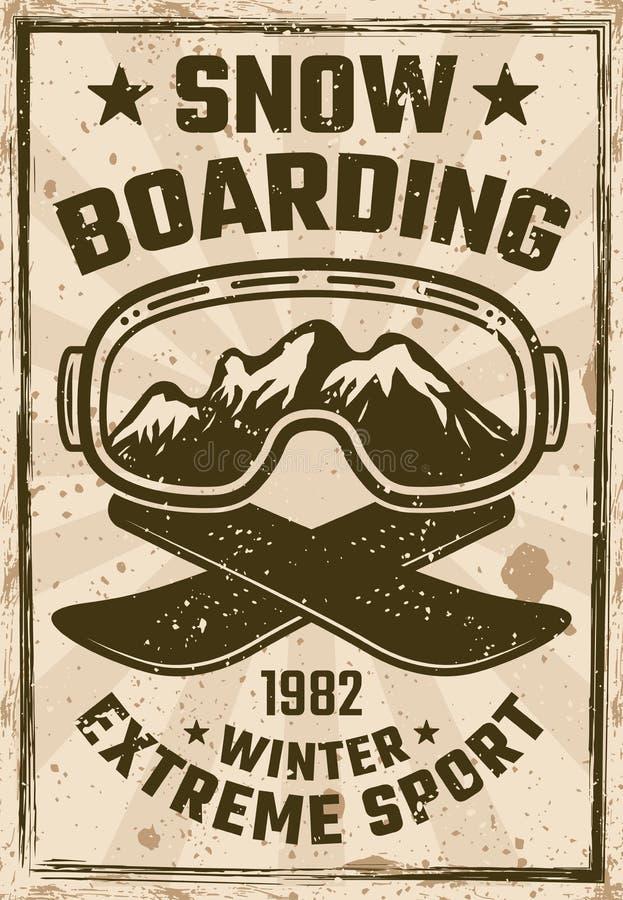 Affiche de vintage de snowboarding avec des verres de ski illustration stock