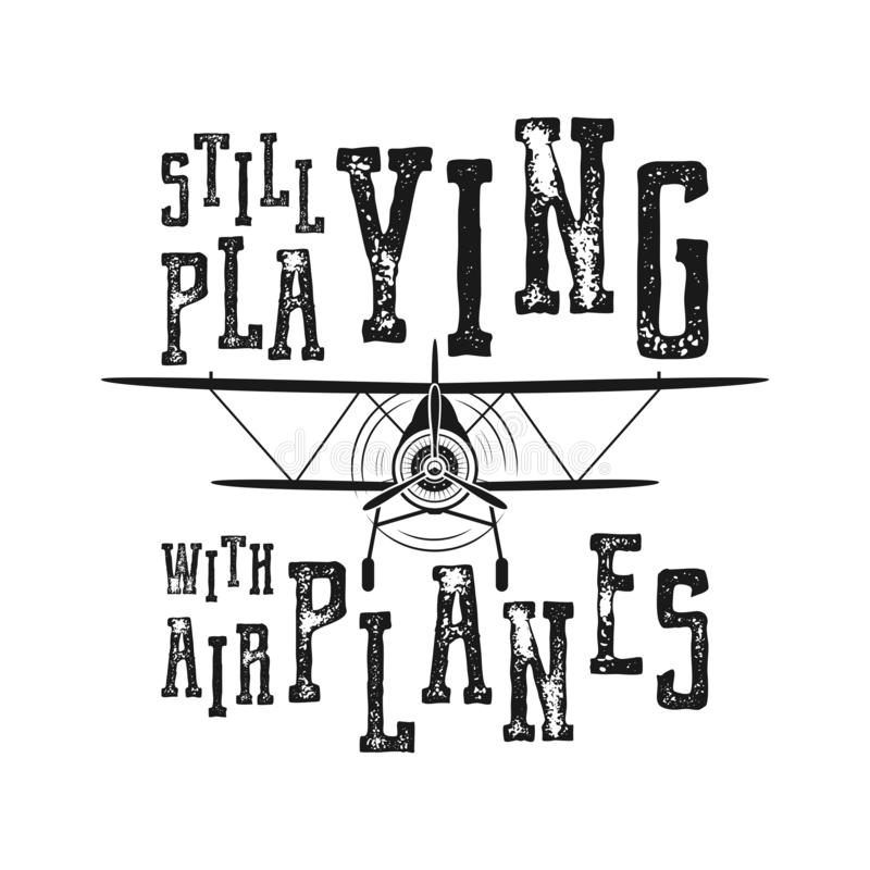 Affiche de vol - en jouant toujours avec des avions citez rétro style monochrome Conception tirée par la main d'avion de cru pour illustration libre de droits