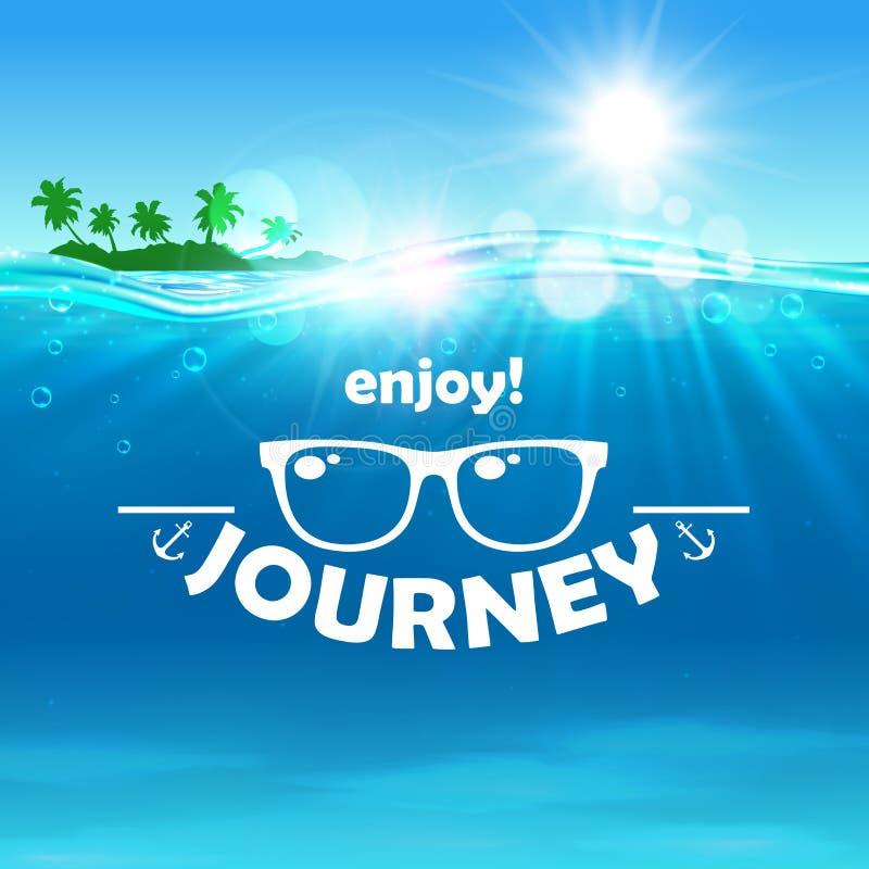 Affiche de voyage d'été Océan, île, lunettes de soleil illustration stock