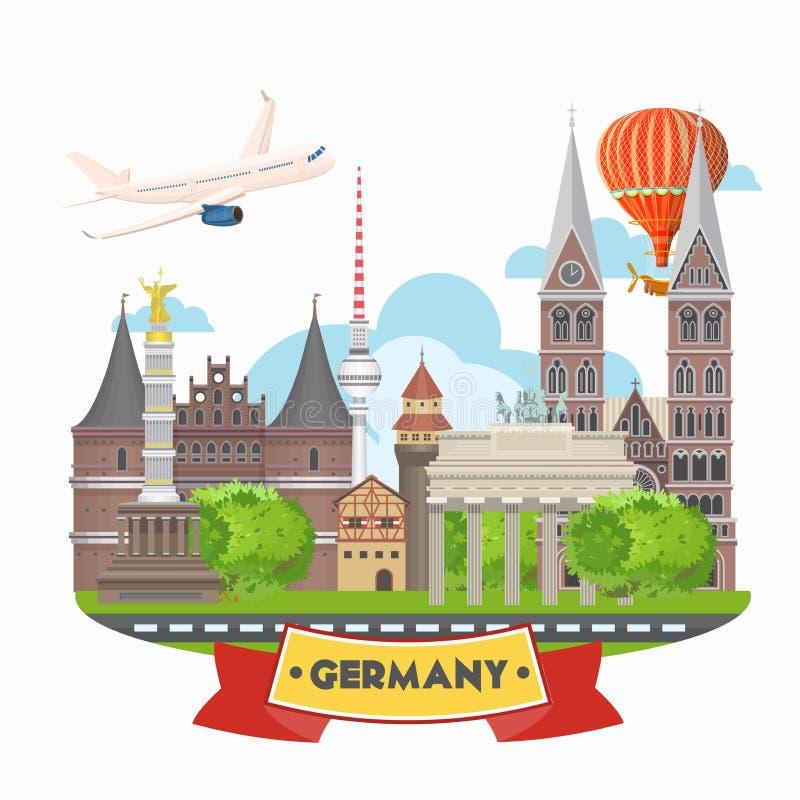 Affiche de voyage de l'Allemagne avec l'avion Concept d'architecture de voyage Fond touristique avec des points de repère, châtea illustration libre de droits