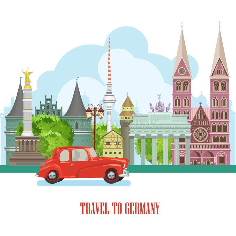 Affiche de voyage de l'Allemagne avec la voiture rouge Concept d'architecture de voyage Fond touristique avec des points de repèr illustration de vecteur