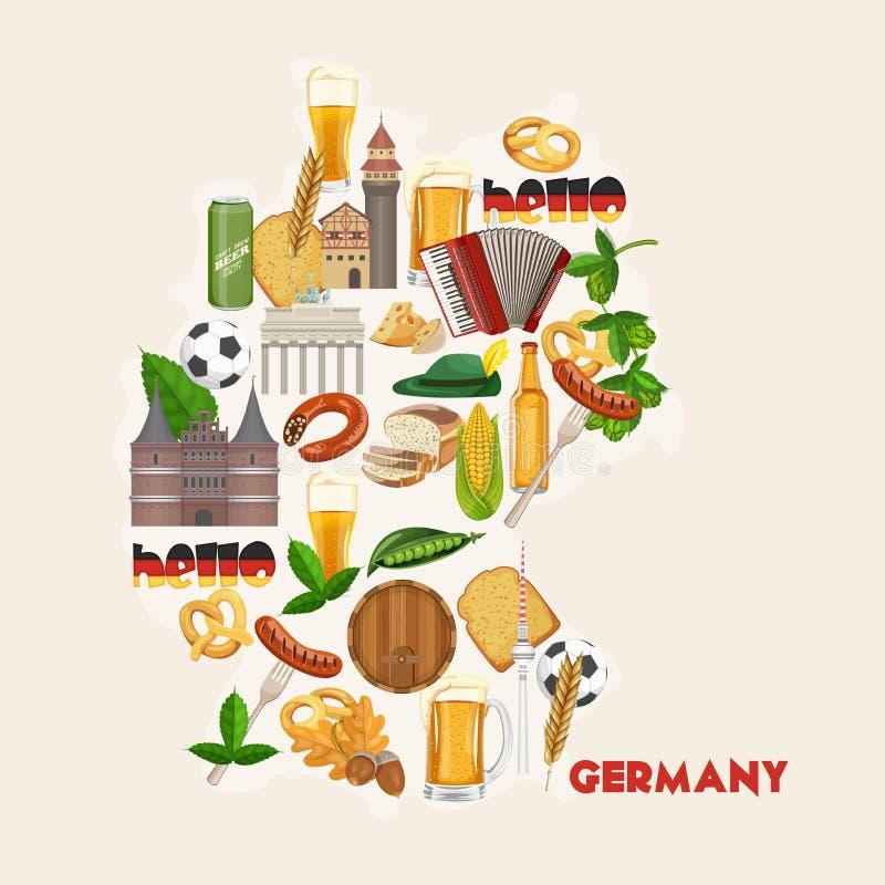 Affiche de voyage de l'Allemagne Concept d'architecture de voyage Fond touristique avec des points de repère, châteaux, monuments illustration stock