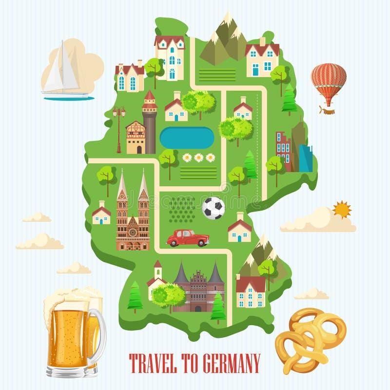Affiche de voyage de l'Allemagne Concept d'architecture de voyage Fond touristique avec des points de repère, châteaux, monuments illustration libre de droits