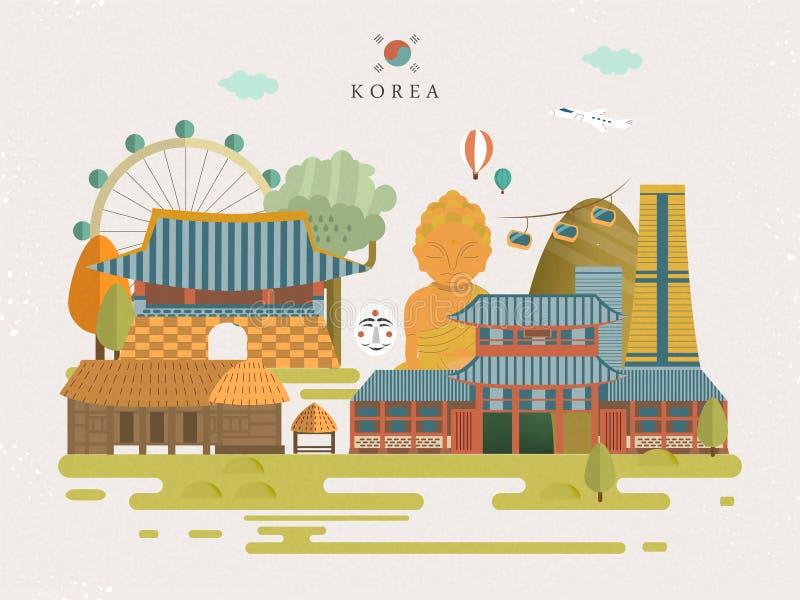 Affiche de voyage de la Corée du Sud illustration stock