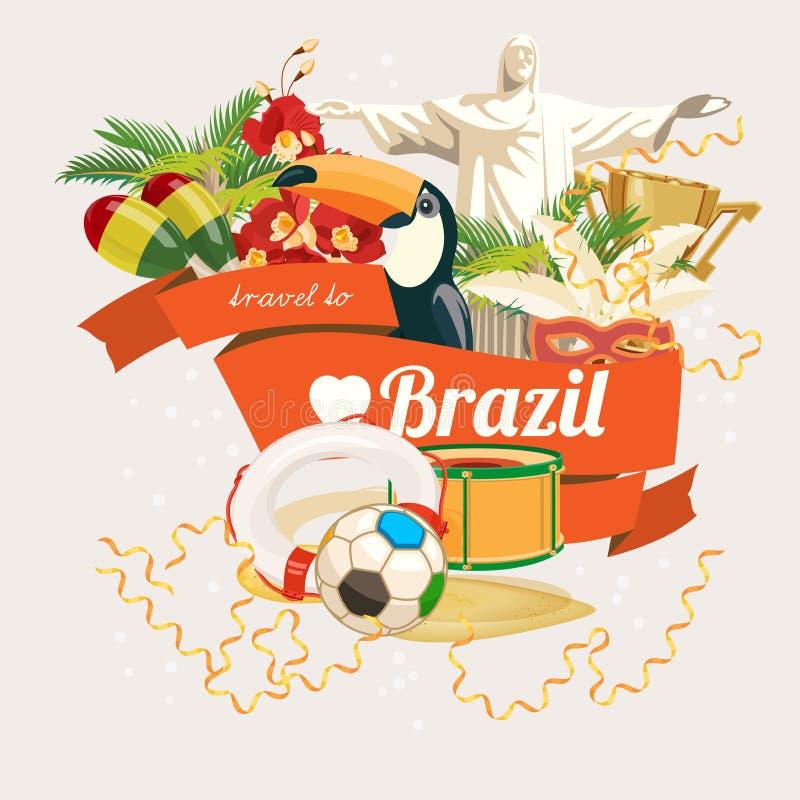 Affiche de voyage de vecteur du Brésil Style moderne illustration stock