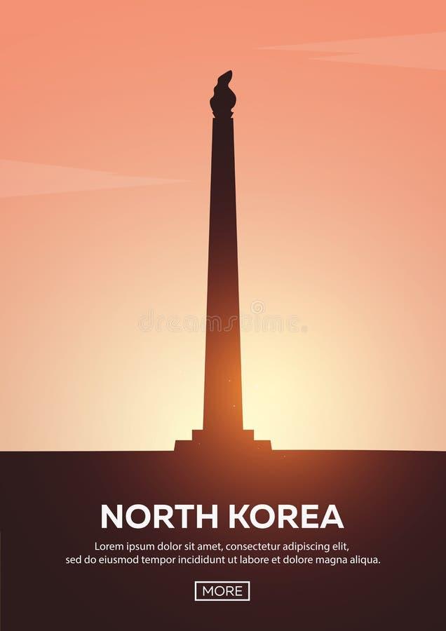 Affiche de voyage vers la Corée du Nord Silhouettes de points de repère Illustration de vecteur illustration libre de droits