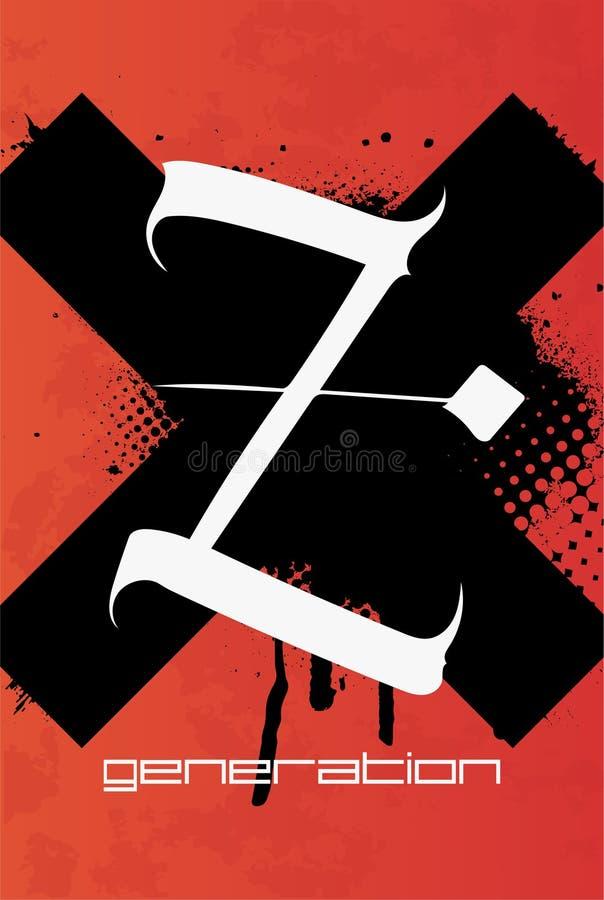 Affiche de Z dans le style grunge illustration libre de droits