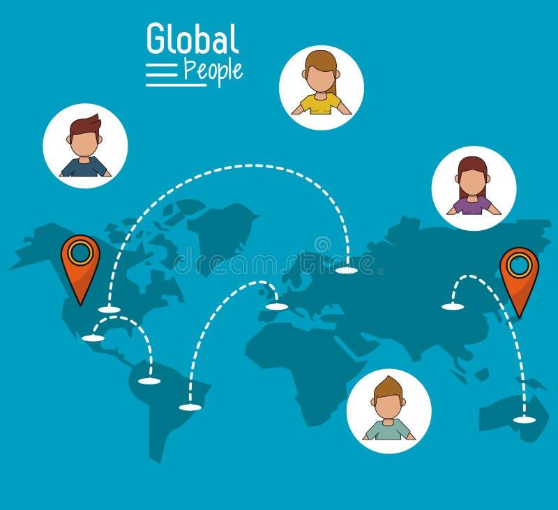 Affiche des personnes globales avec le fond bleu avec la carte du monde et de l'itinéraire d'indicateur de carte illustration libre de droits