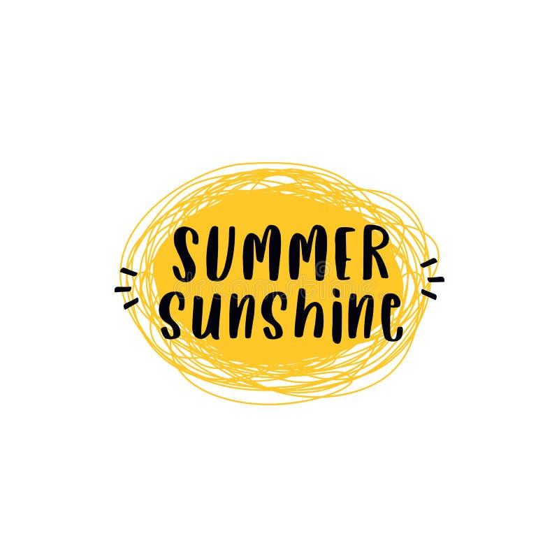 Affiche des textes de citation de soleil d'été avec l'illustration simple de vecteur de fond du soleil d'art de griffonnage illustration libre de droits