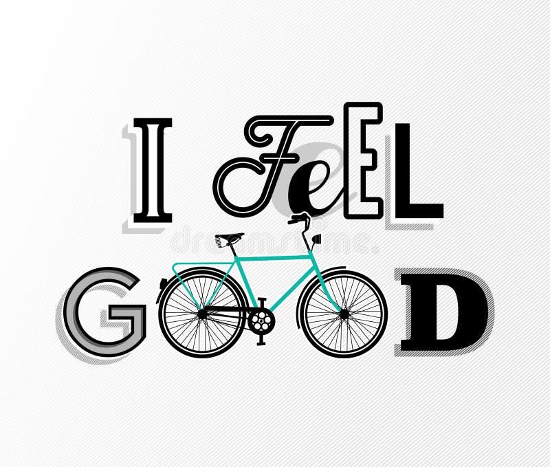 Affiche des textes de motivation de bicyclette de concept de vélo rétro illustration libre de droits