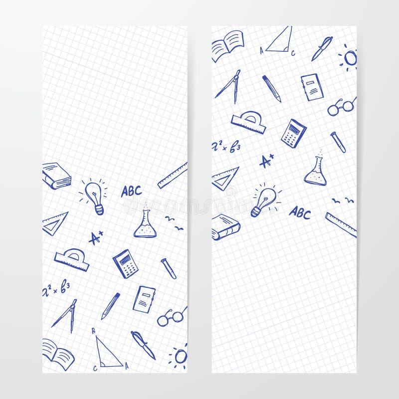 Affiche deux avec l'ensemble tiré par la main d'approvisionnements de doddles sur la feuille de fond de livre d'exercice illustration de vecteur
