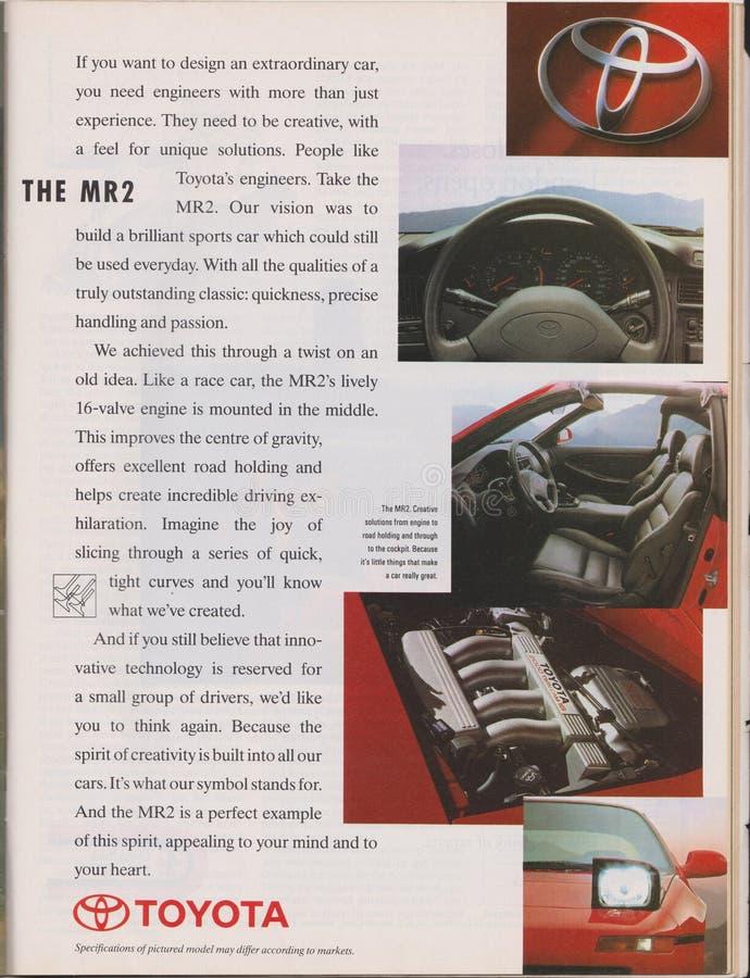 affiche die de generatiew20 auto van Toyota MR2 Tweede in tijdschrift vanaf 1992, slogan adverteren stock afbeeldingen