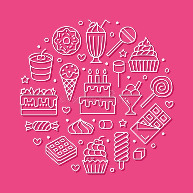 Affiche douce de rond de nourriture avec la ligne plate icônes Illustrations de vecteur de pâtisserie - lucette, barre de chocola illustration stock