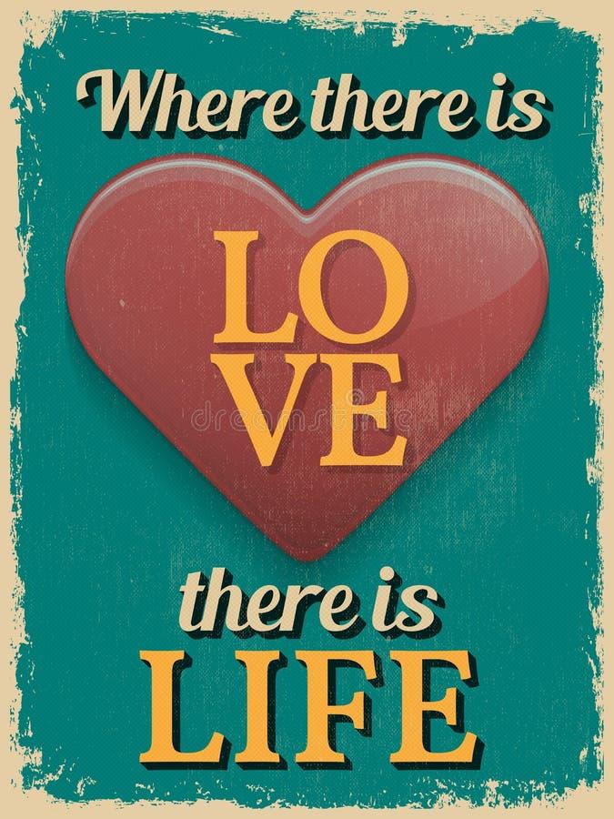 Affiche du jour de Valentine Rétro conception de cru Là où il y a de Lov illustration de vecteur