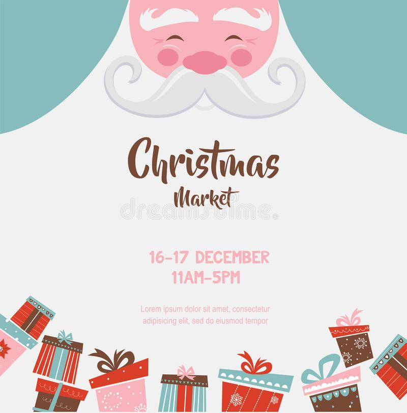 Affiche du marché de Noël avec Santa et présents Illustration de vecteur illustration libre de droits