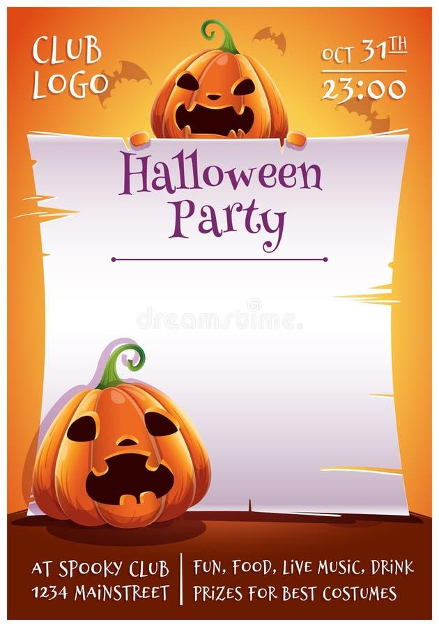 Affiche editable heureuse de Halloween avec les potirons fâchés et effrayés avec le parchemin sur le fond orange avec des battes  illustration stock
