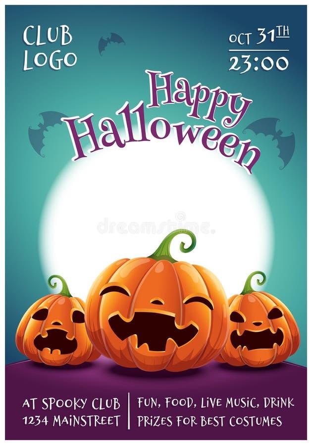 Affiche editable heureuse de Halloween avec les potirons de sourire, effrayés et fâchés sur le fond bleu-foncé avec la pleine lun illustration de vecteur