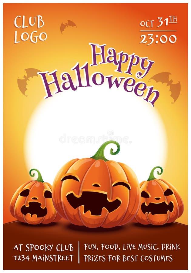 Affiche editable heureuse de Halloween avec les potirons de sourire, effrayés et fâchés sur le fond orange avec la pleine lune he illustration de vecteur