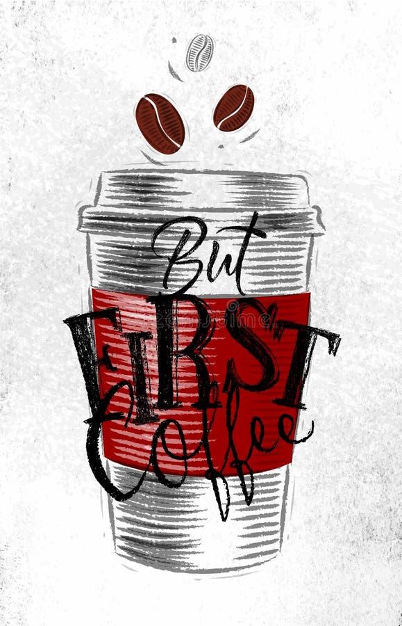 Affiche eerste koffie vector illustratie