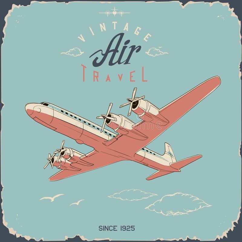 Affiche et affiche de voyage pour l'aviation rétro en couleurs simples illustration de vecteur