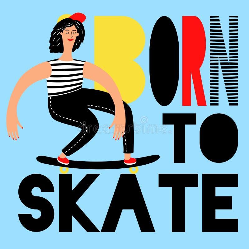 Affiche faisante de la planche à roulettes de femmes illustration libre de droits