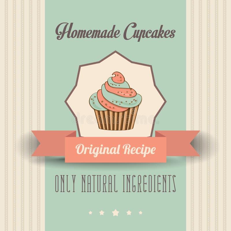 Affiche faite maison de petits gâteaux de vintage illustration stock