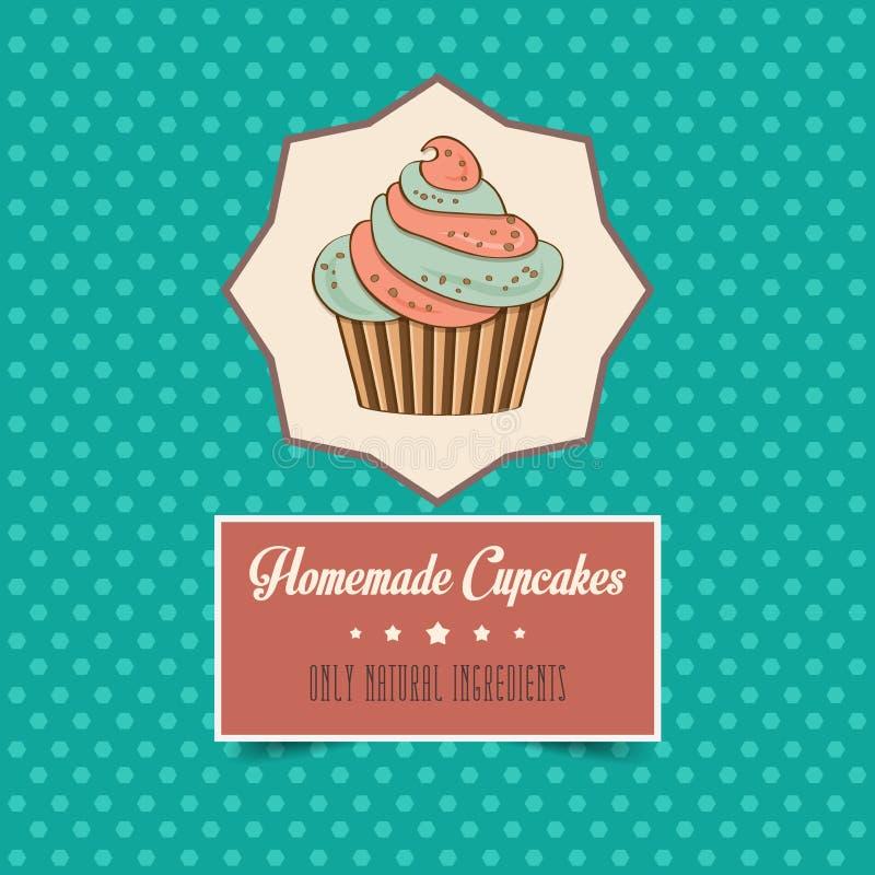 Affiche faite maison de petits gâteaux de vintage illustration de vecteur