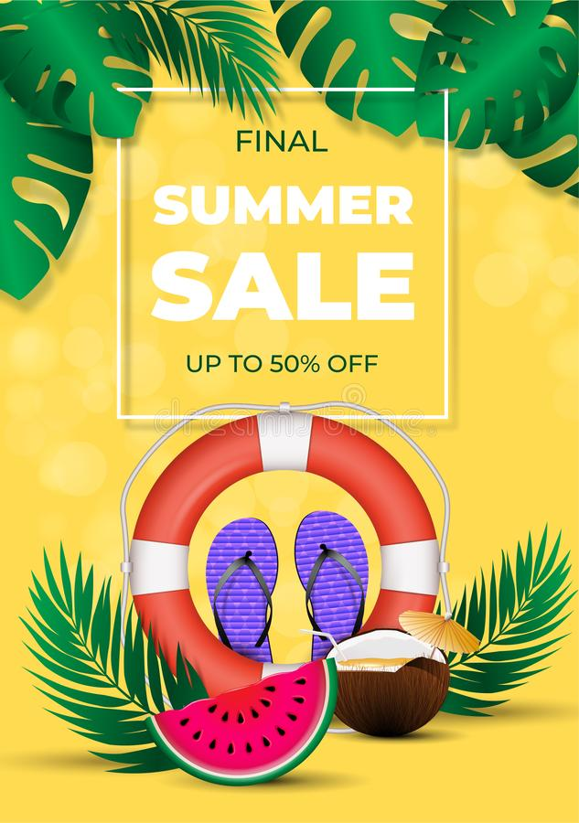Affiche finale de vente d'été, éléments colorés d'été de saison de disposition chaude de remise illustration stock