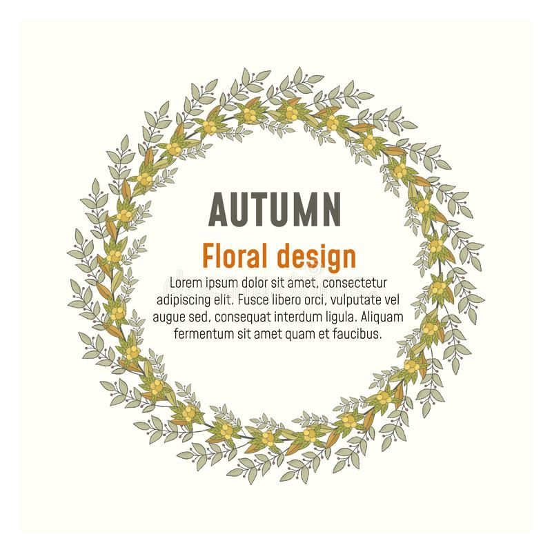 Affiche florale de verdure d'automne, design de carte illustration libre de droits