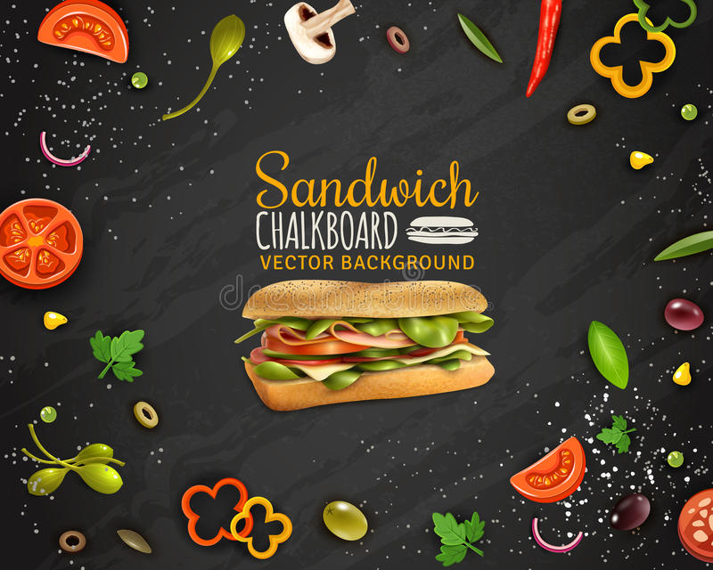 Affiche fraîche de publicité de fond de tableau de sandwich illustration stock