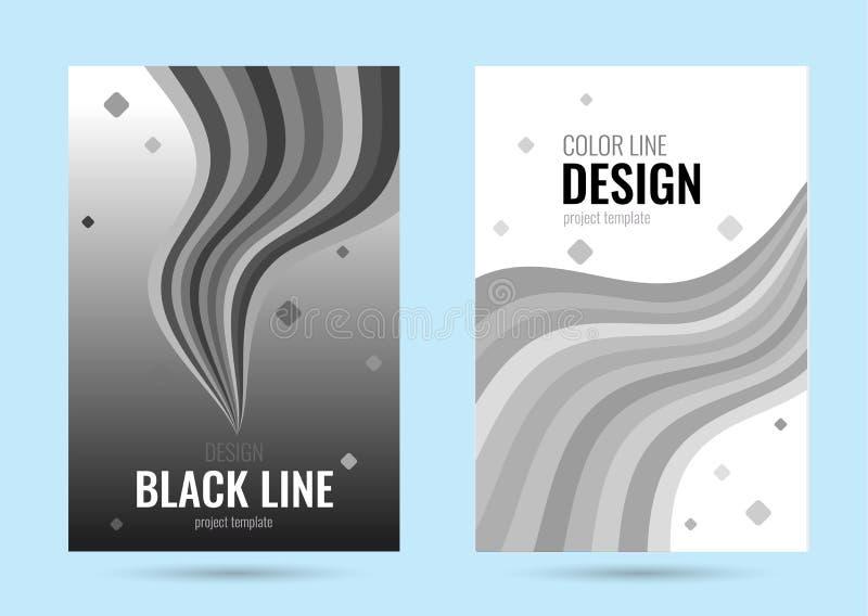 Affiche grise avec la ligne noire de vague sur le fond de gradient Bannière verticale de vecteur de résumé avec la ligne de flott illustration libre de droits