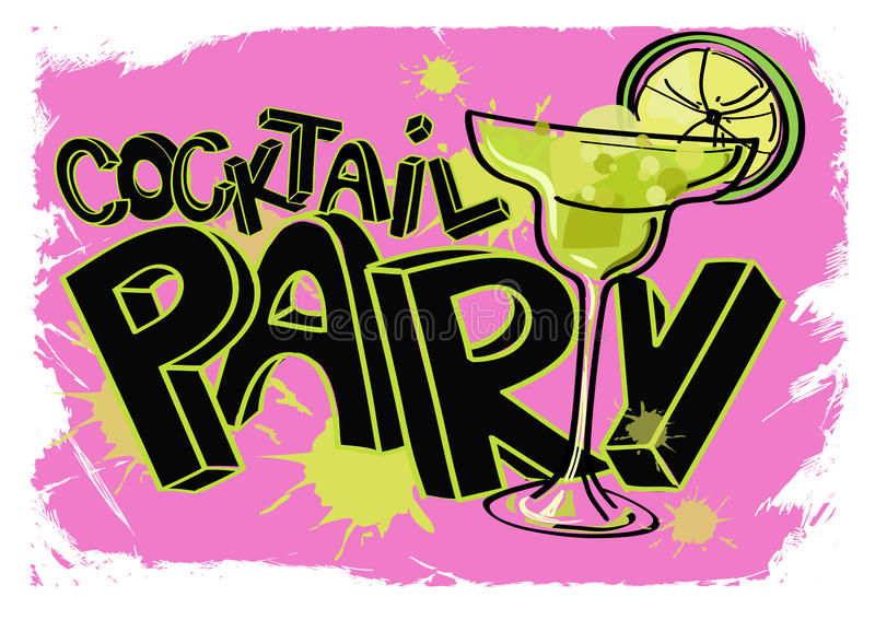 Affiche grunge de cocktail illustration stock