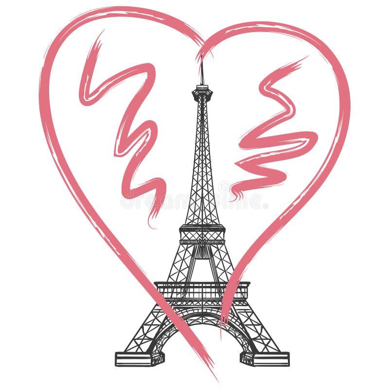 Affiche grunge de Frances avec Tour Eiffel illustration libre de droits