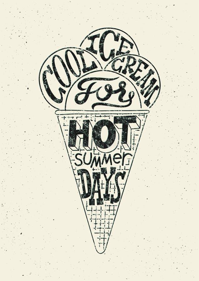 Affiche grunge de style de crème glacée de vintage rétro conception blanc noir de label de typographie Illustration de vecteur illustration libre de droits