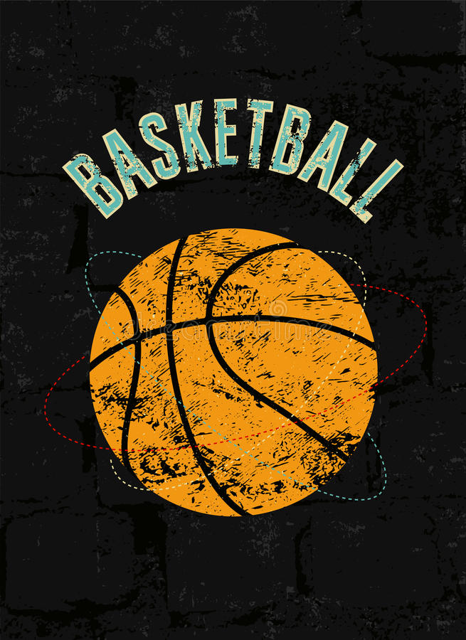 Affiche grunge de style de vintage de basket-ball Rétro illustration de vecteur illustration de vecteur