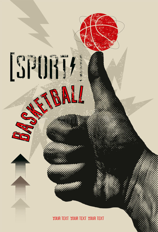 Affiche grunge de style de vintage de basket-ball Rétro illustration de vecteur illustration stock
