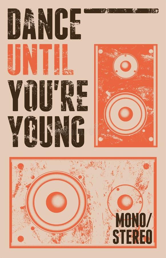 Affiche grunge de style de vintage pour la rétro partie avec haut-parleurs Illustration de vecteur illustration de vecteur