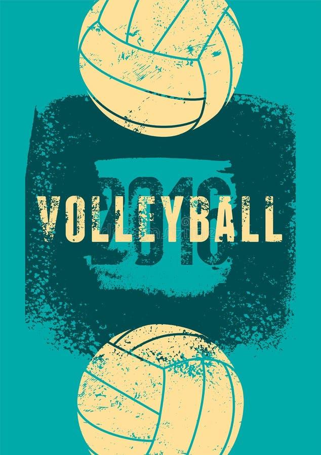 Affiche grunge de style de vintage typographique de volleyball Rétro illustration de vecteur illustration libre de droits