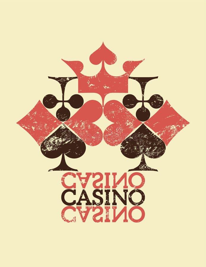 Affiche grunge de style de vintage de casino La carte adapte à la composition Rétro illustration illustration libre de droits