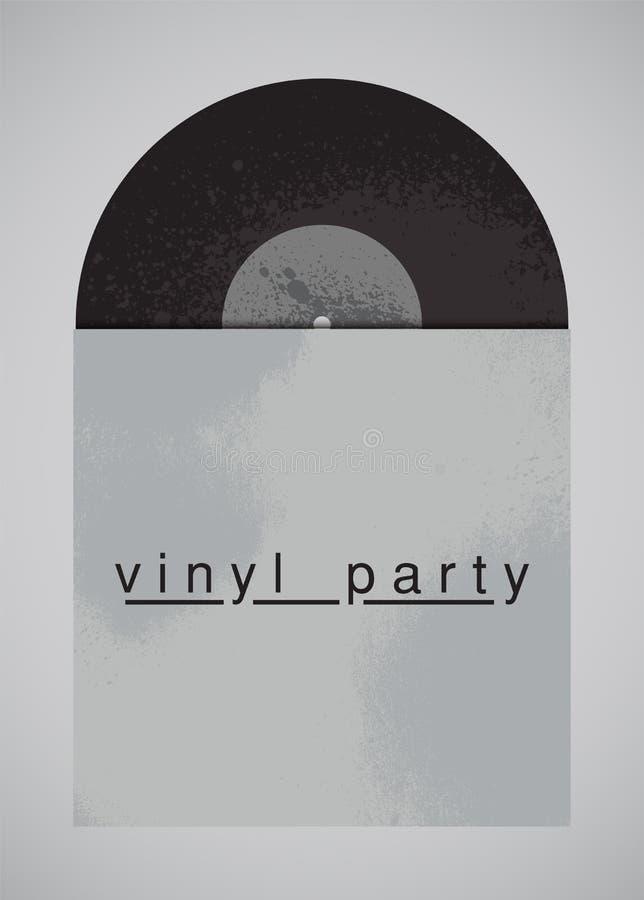 Affiche grunge de style de vintage typographique de partie de musique Disque de vinyle dans la douille Rétro illustration de vect illustration de vecteur