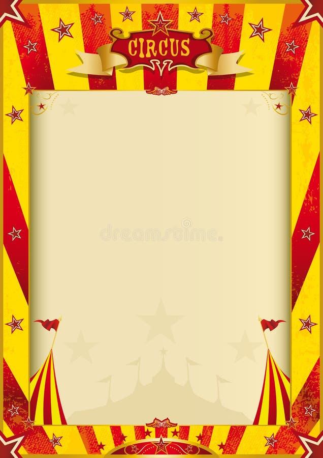 Affiche grunge jaune et rouge de cirque illustration stock