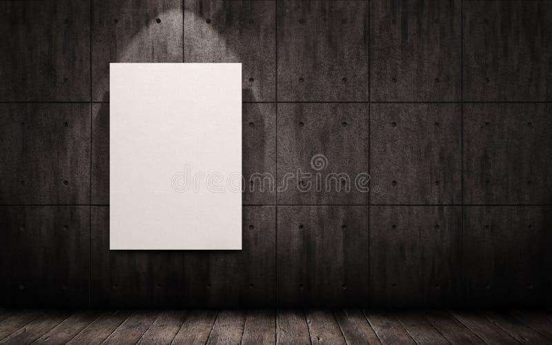 Affiche het hangen op de muur in het industriële binnenland Spot omhoog vector illustratie