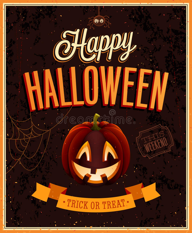 Affiche heureuse de Halloween. illustration stock