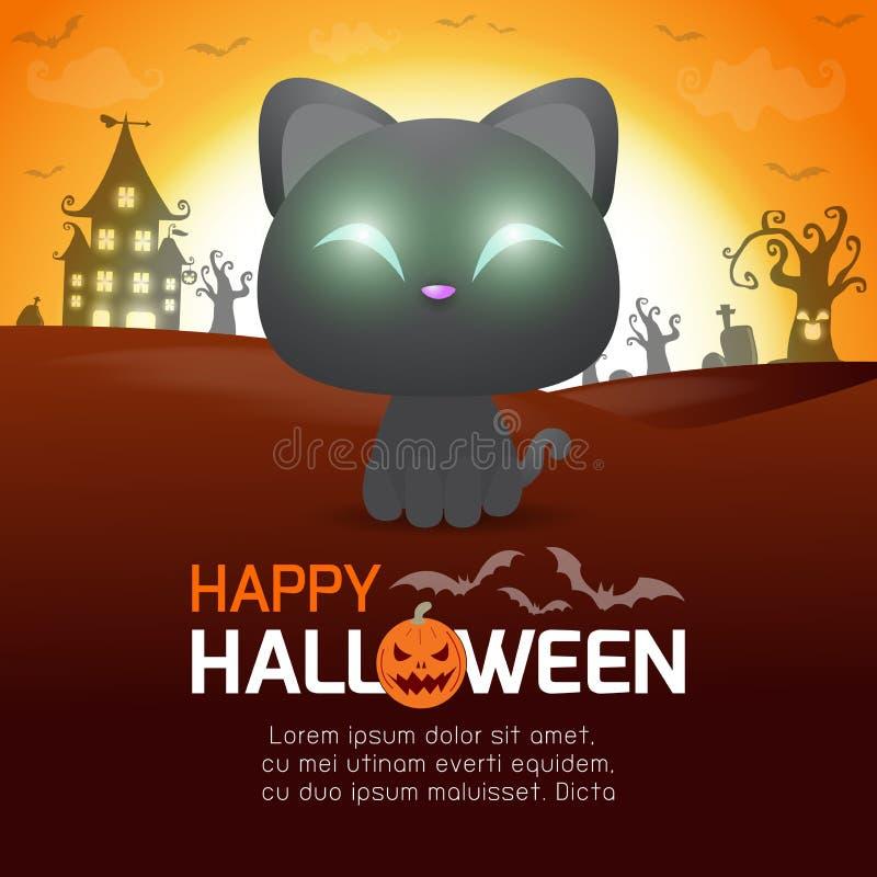 Affiche heureuse de Halloween, chat noir dans le clair de lune, bannière de Halloween, tour de Halloween ou calibre de fond de tr illustration libre de droits