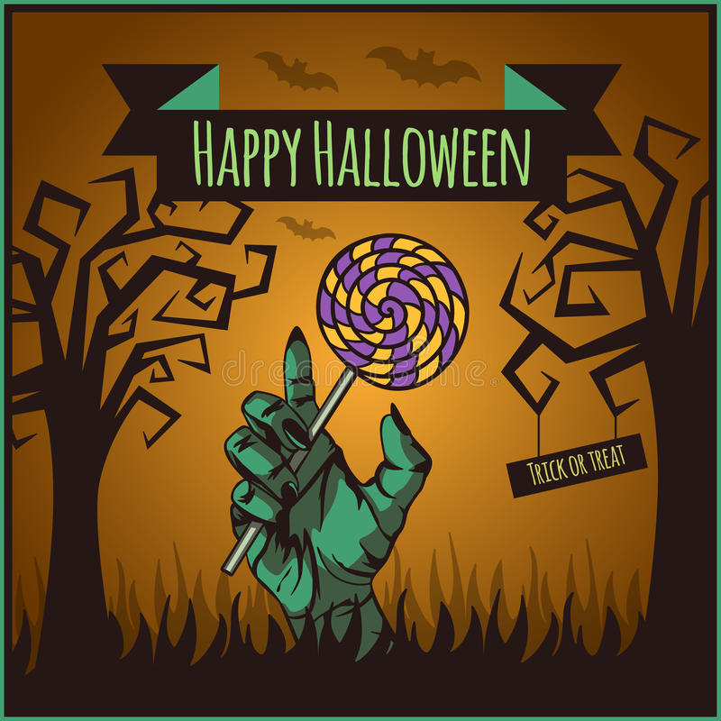 Affiche heureuse de Halloween de vecteur illustration stock