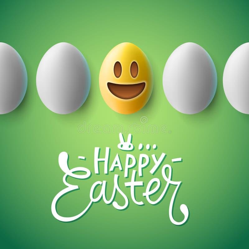 Affiche heureuse de Pâques, oeufs de pâques avec le visage d'emoji illustration de vecteur