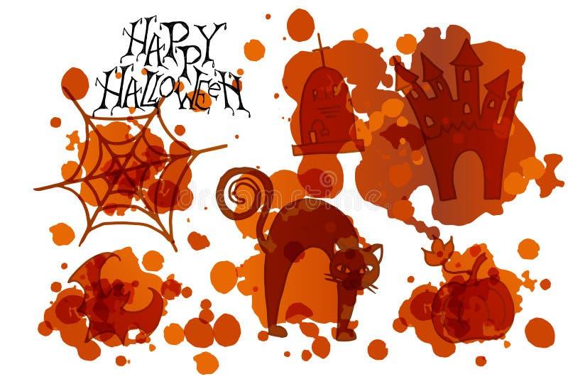 Affiche heureuse de partie de Halloween Illustration de vecteur illustration stock